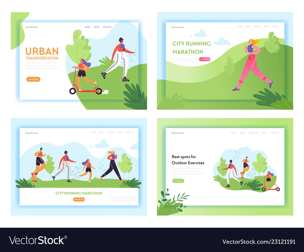 Healthy lifestyle running people landing page