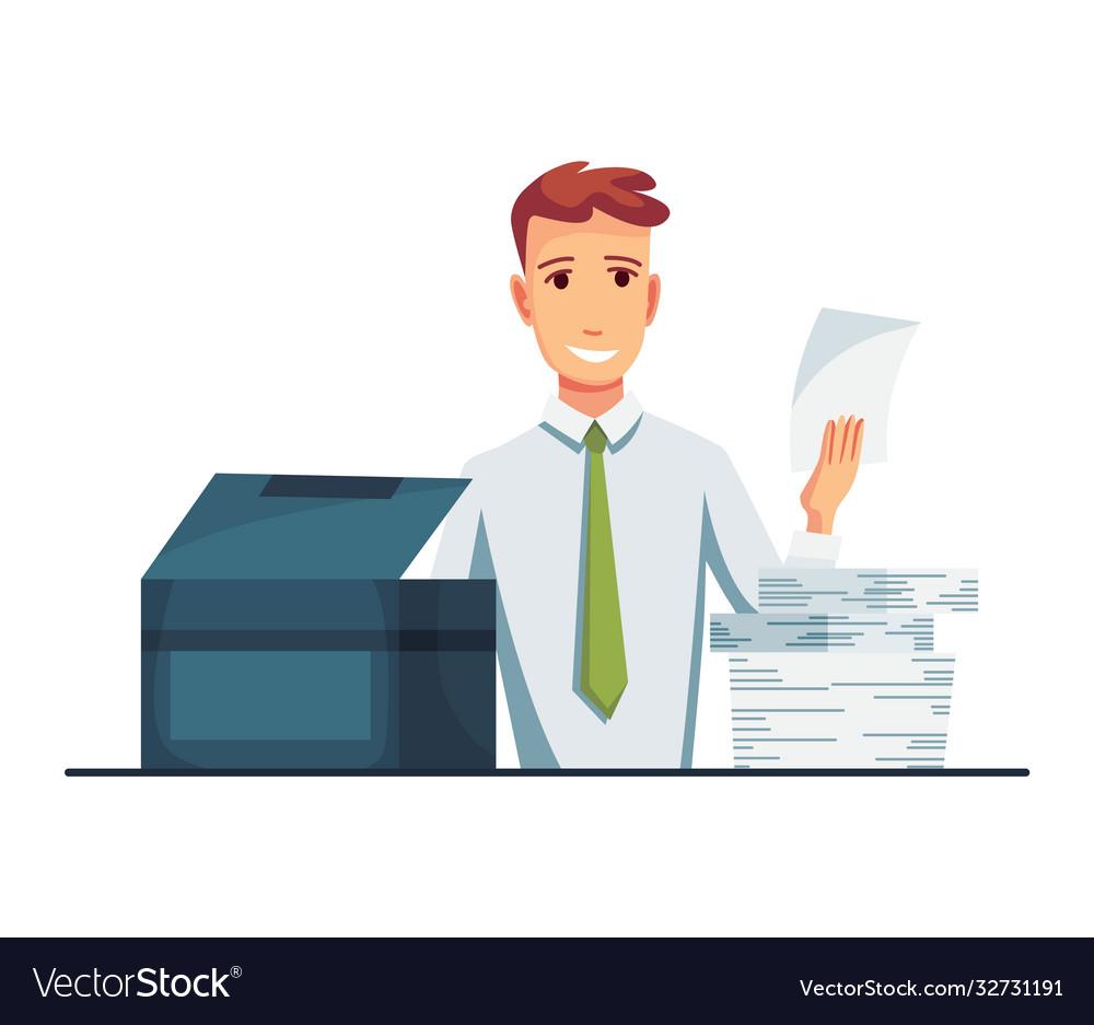 Office documents copier office worker prints