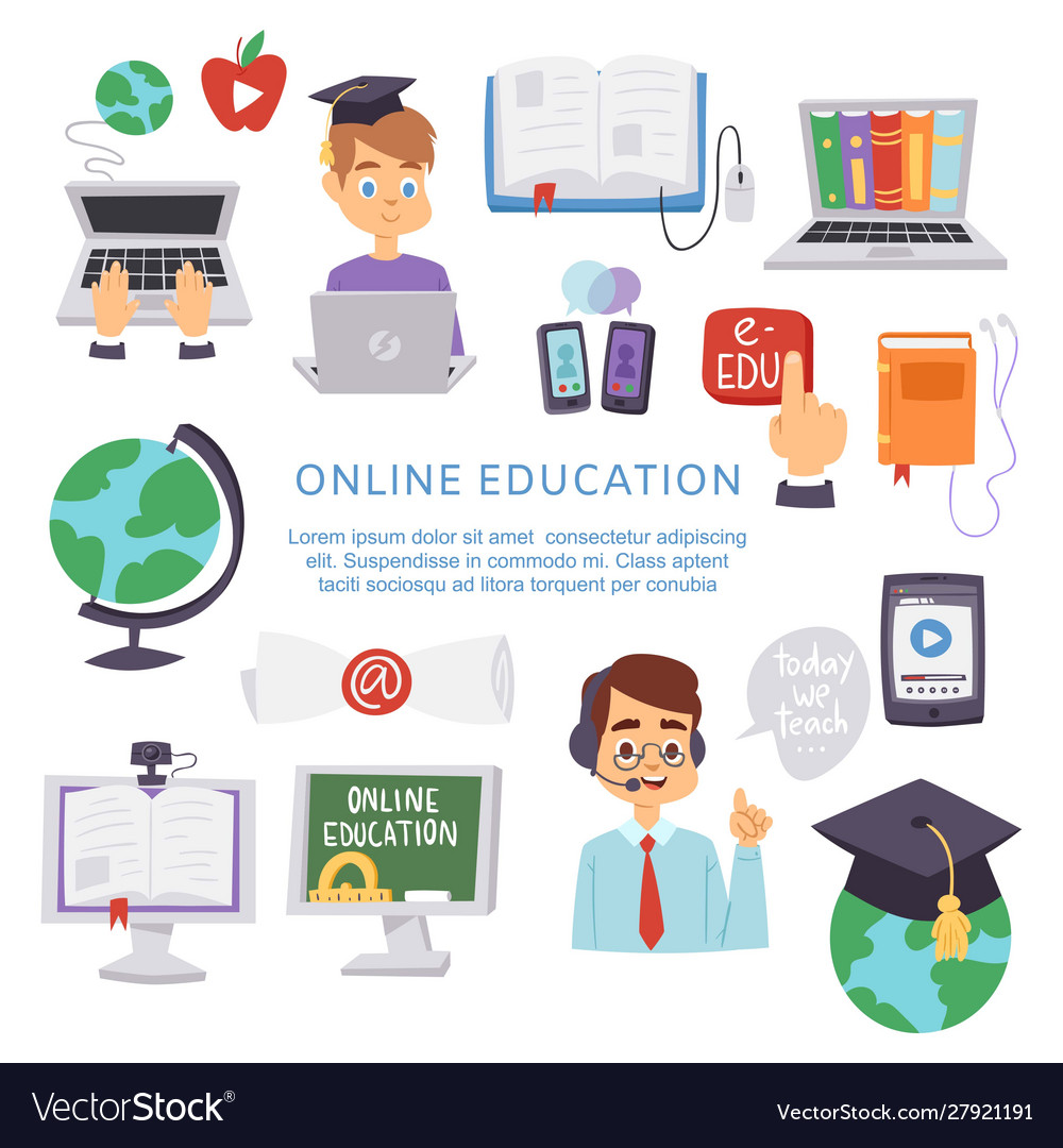 Online Education E Learning Science Royalty Free Vector