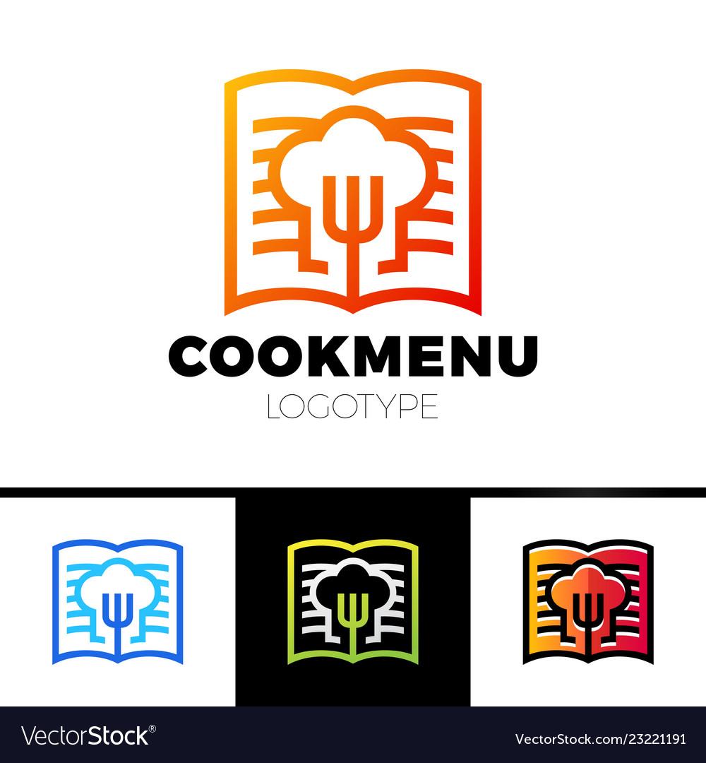 Recipe or cooking book logo template design menu