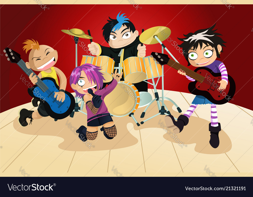 3ebbc4fc9 Rock band of four little kids Royalty Free Vector Image