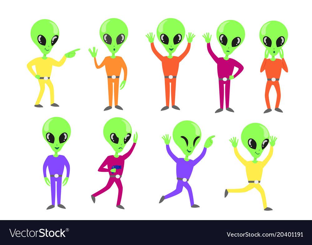 Set of happy green aliens