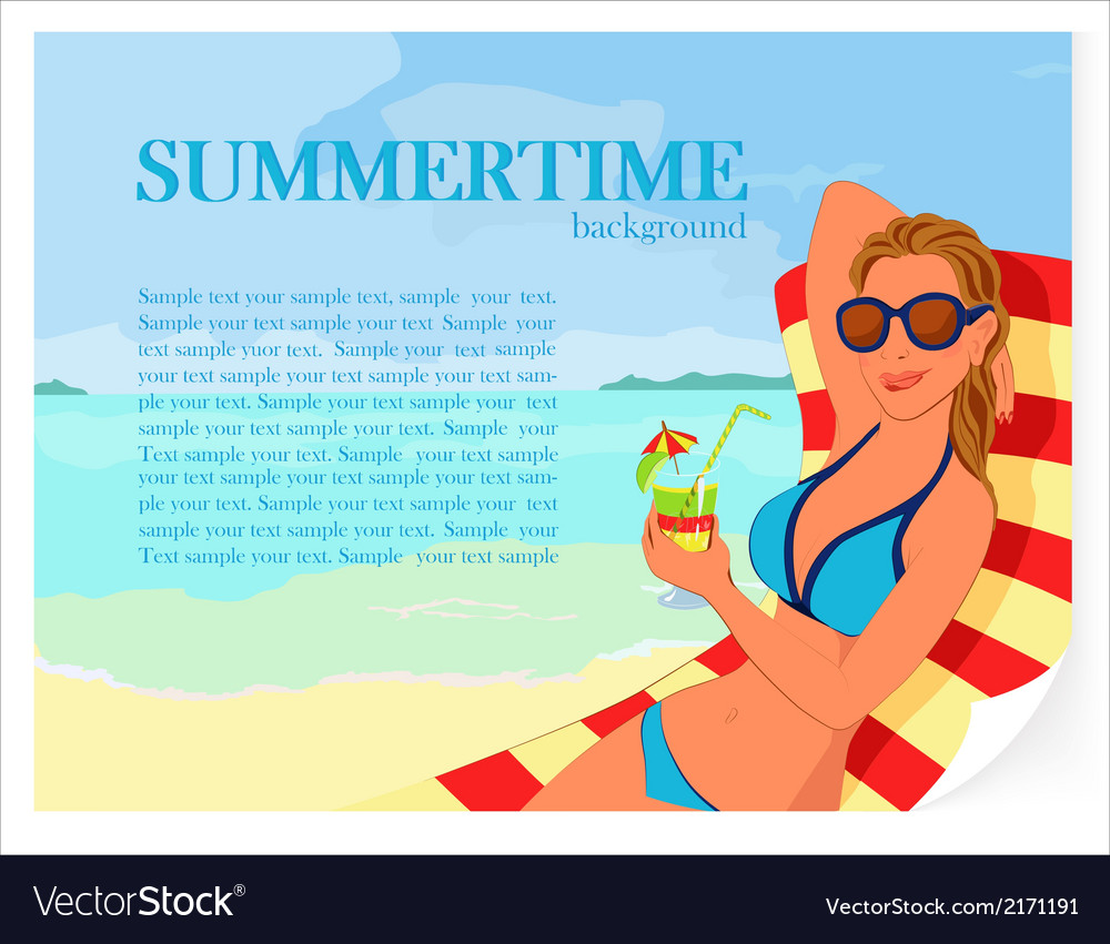 Summer background with girl and cocktail