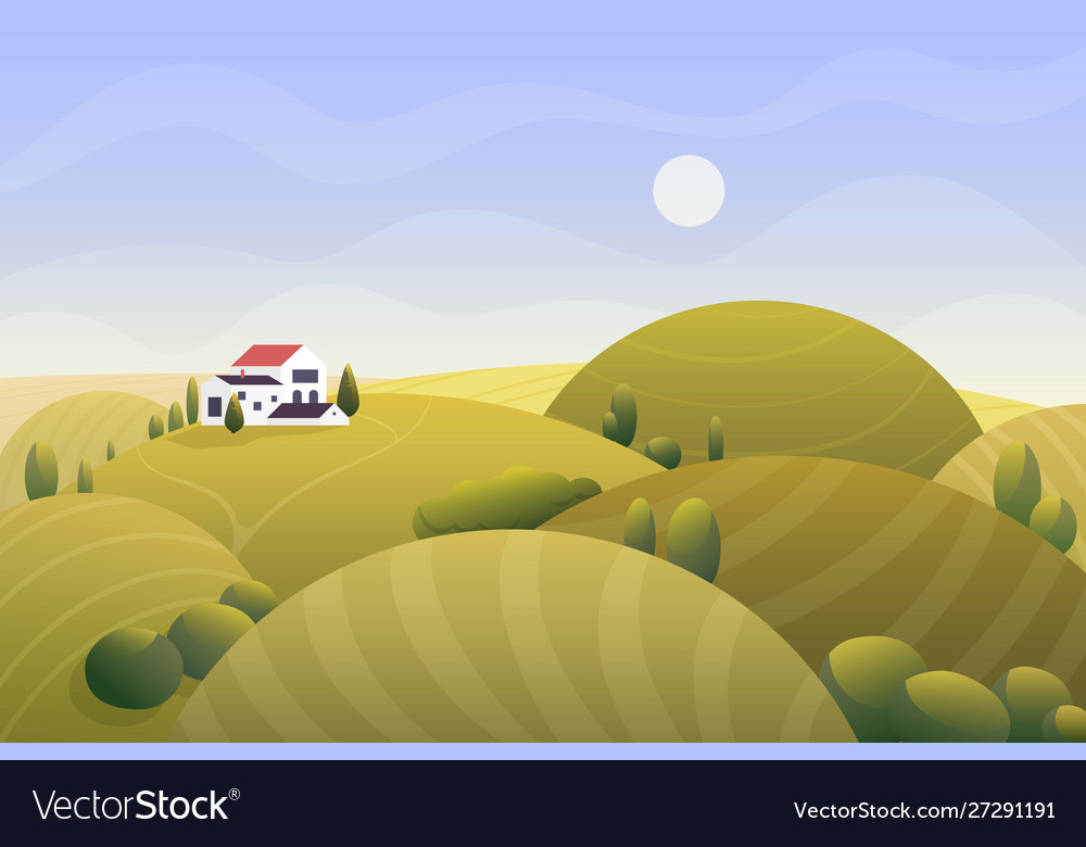 Sunny rural golden autumn landscape with country