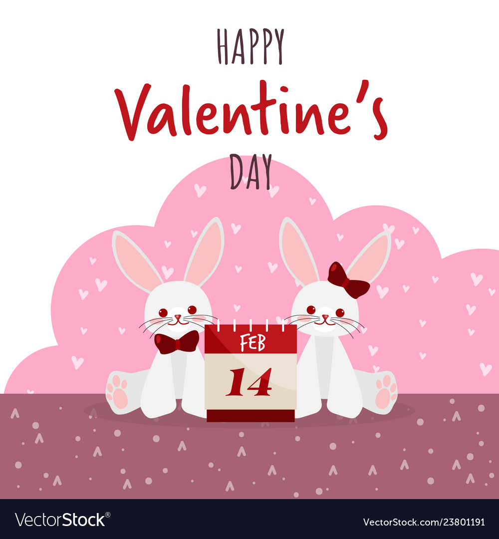 Valentines day background with cute rabbits couple