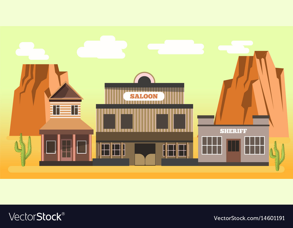 Western saloon and sheriff in desert colorful