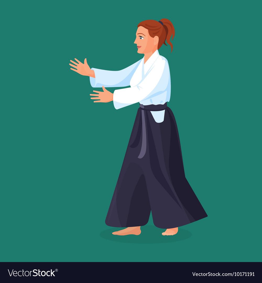 Woman is practicing her defending skills in