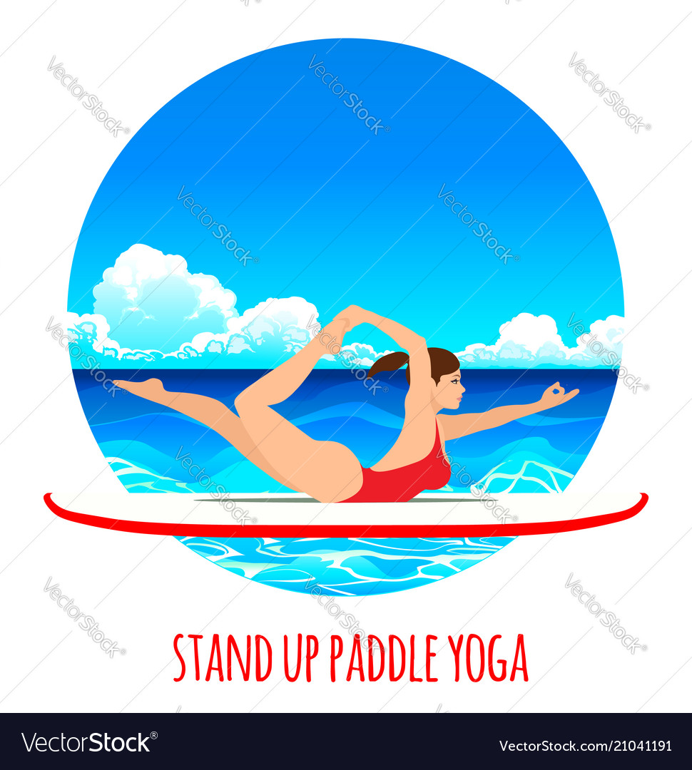 Woman practicing sup yoga on a paddle board in the