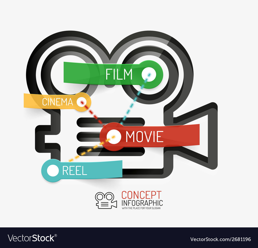 Cinema and movie infographic concept line style vector image