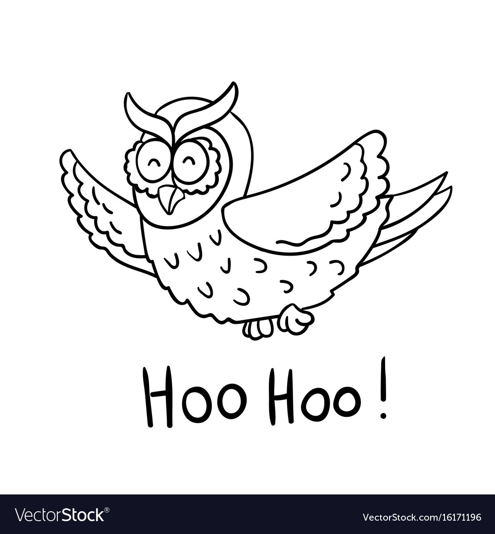 Cute cartoon wise flying owl