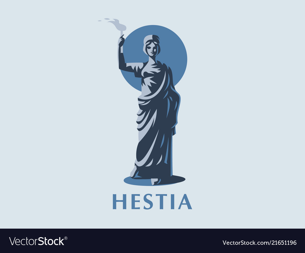 Goddess hestia or vesta with a torch