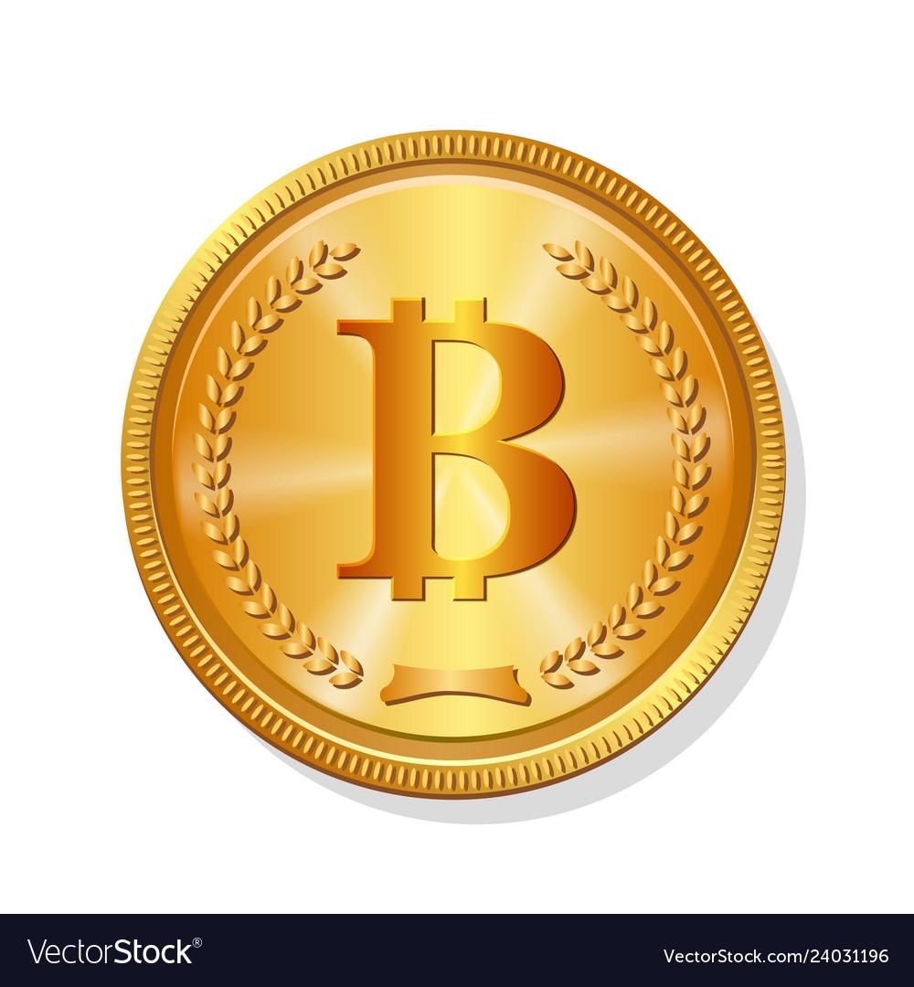 Golden bitcoin coin realistic crypto 3d symbol