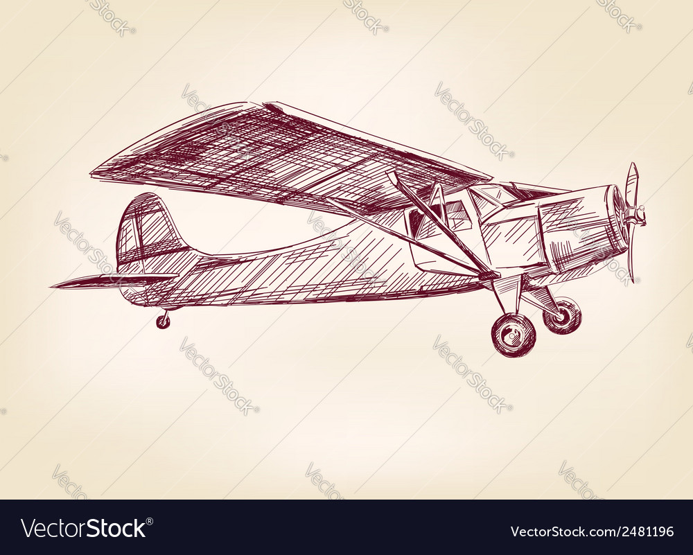 Plane Hand Drawn Llustration Realistic Sketch Vector Image