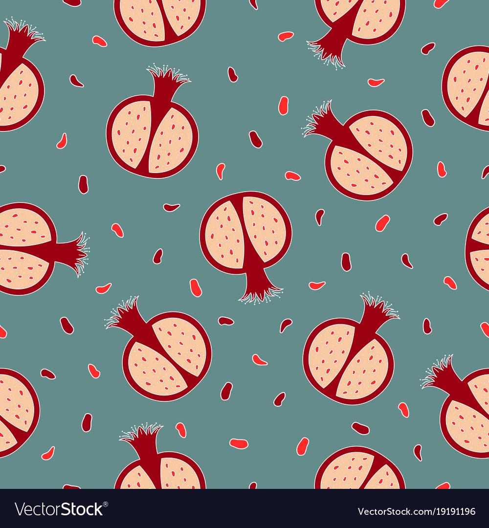 Seamless pattern with pomegranates