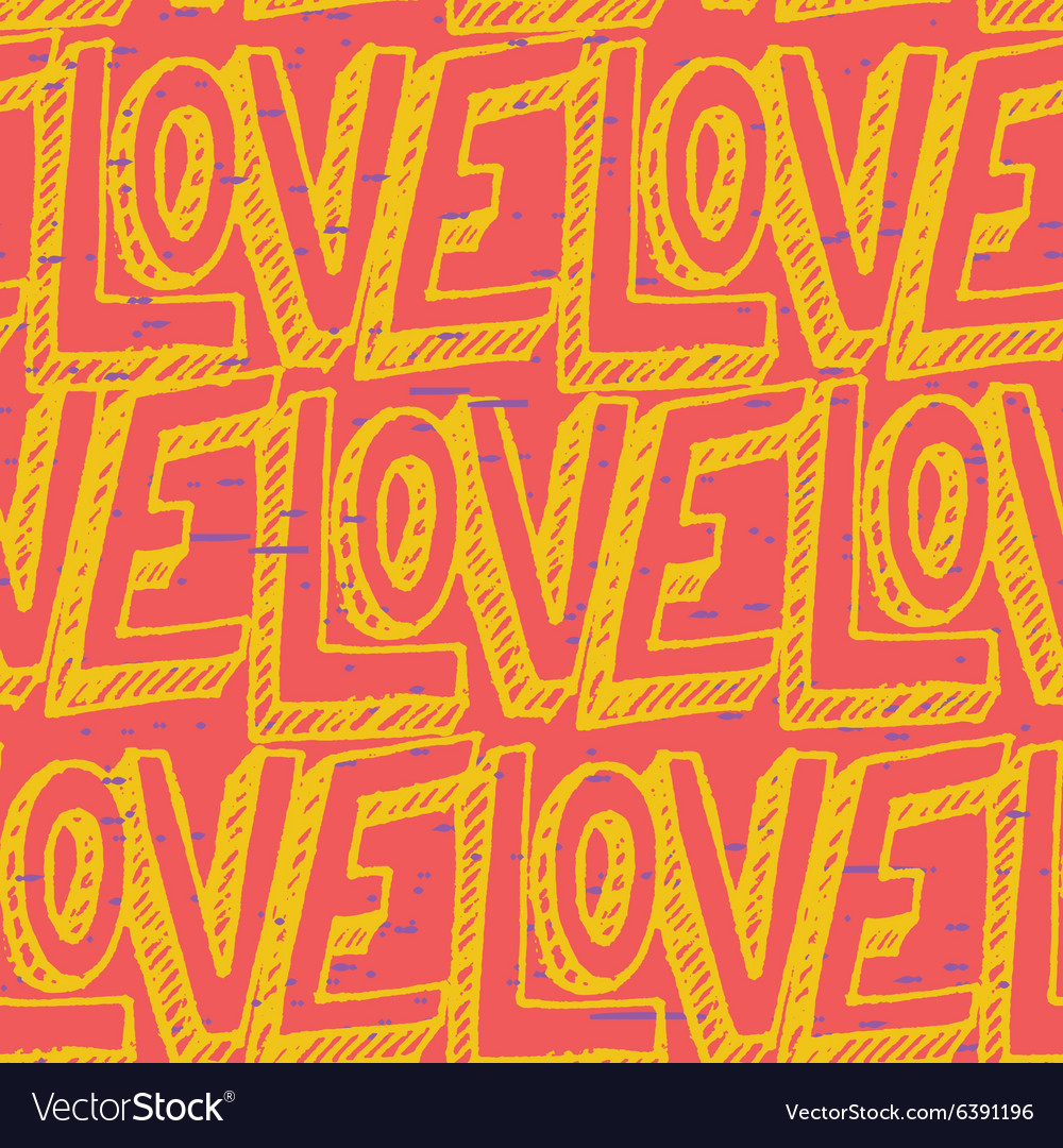 Seamless pop art pattern repeating doodle LOVE