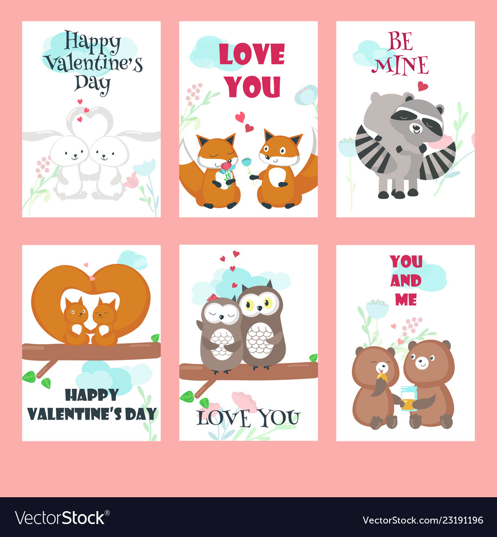 Set of cards with cute animals couples
