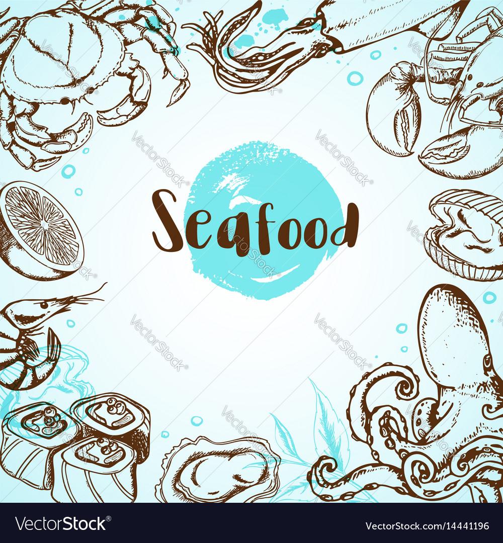 Vintage seafood menu vector image