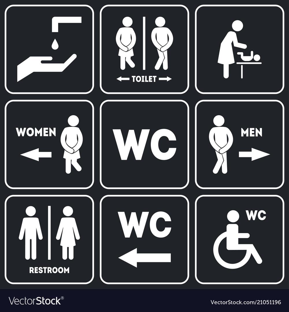 Wc sign for restroom set