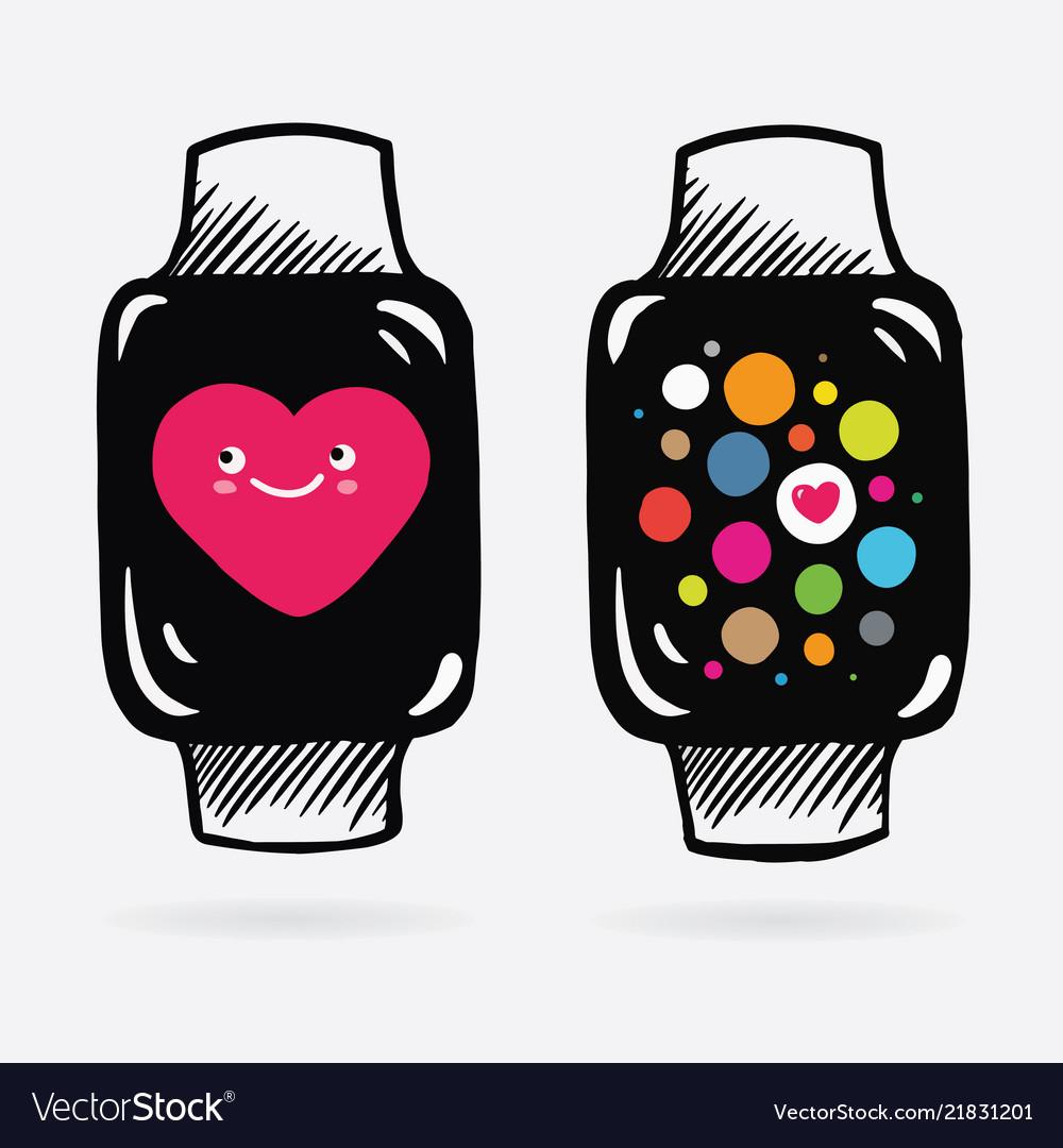 Apple watch in cartoon style on screen watch pink