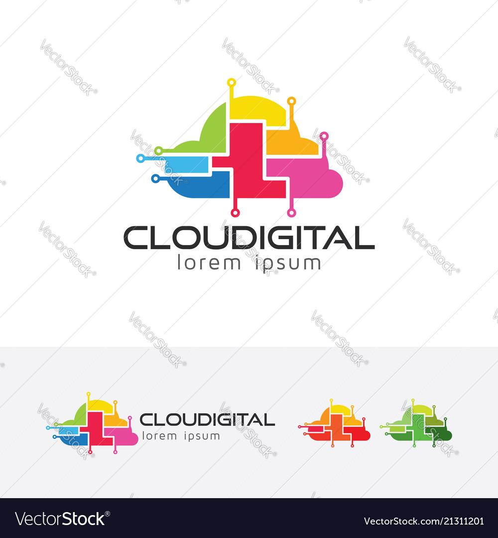 Cloud digital logo design