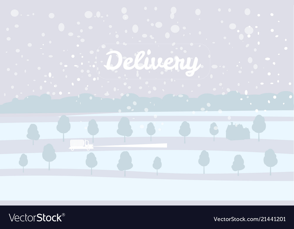 Delivery truck rides on the snow-covered road