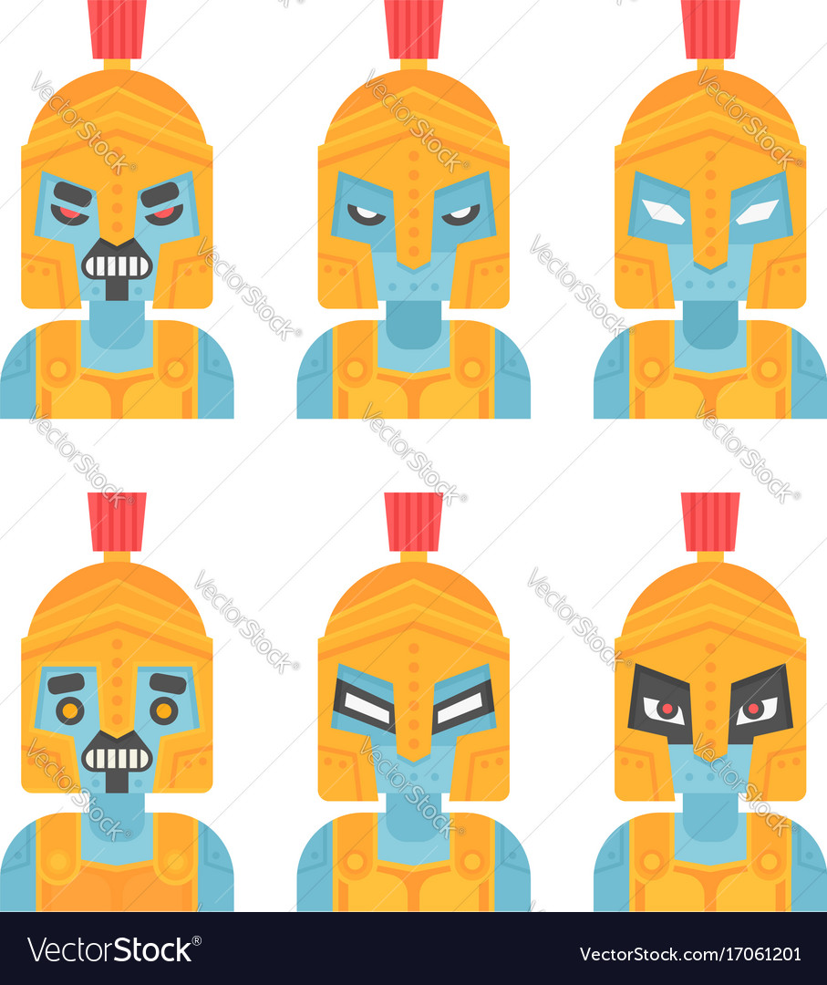Flat spartan robot warrior icon in ancient helmet