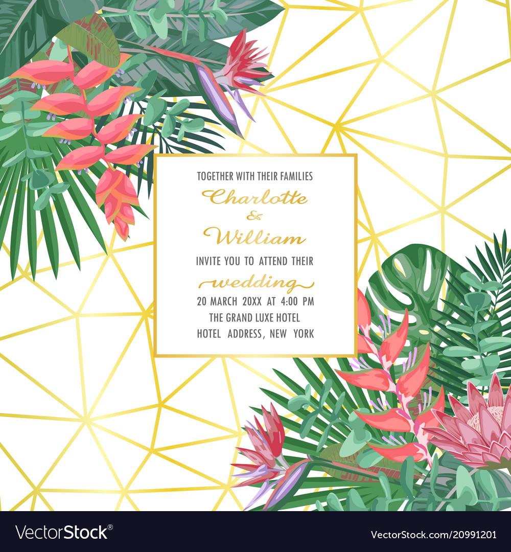 Tropical wedding invitation on geometric