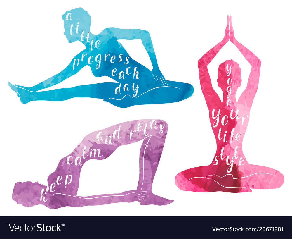 Watercolor silhouettes of woman practicing yoga