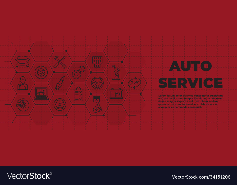 Auto service background with icons and signs