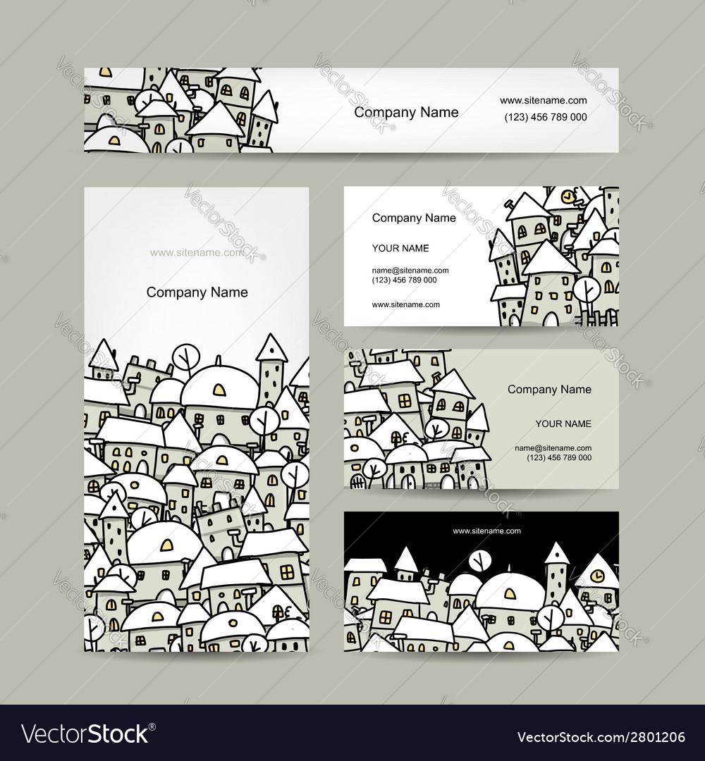 Business cards design winter cityscape sketch