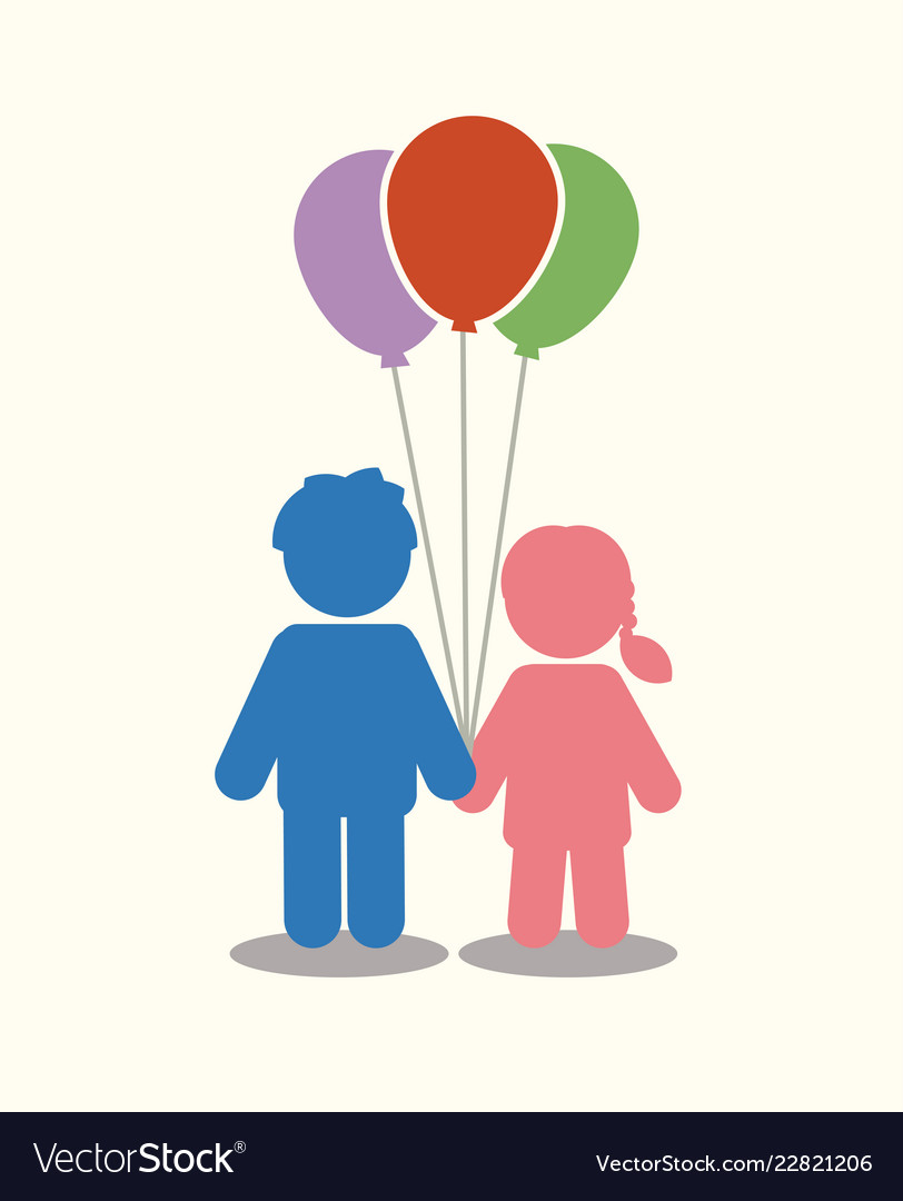Children icon couple icon with balloons graphic