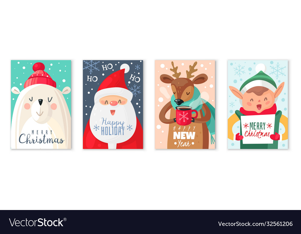 Christmas cards happy merry and new