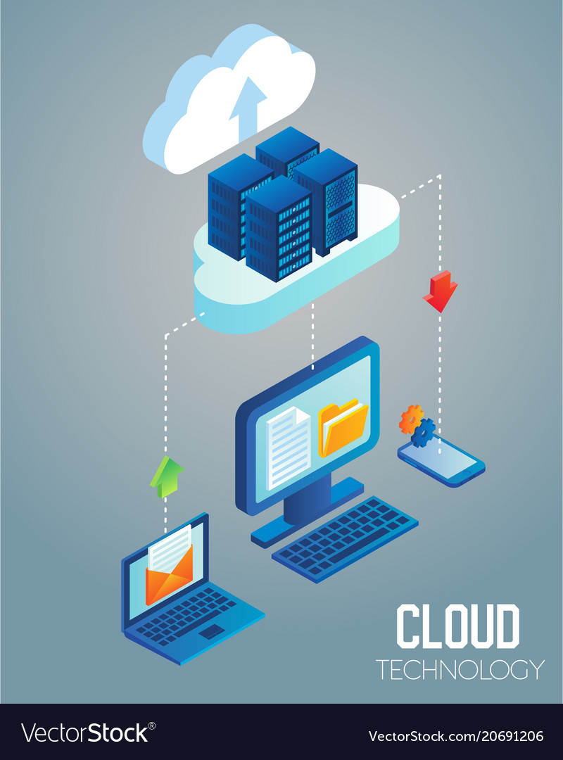 Cloud technology isometric vector image