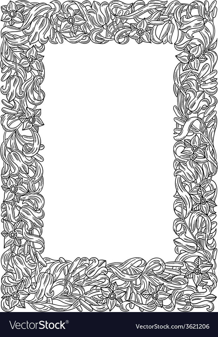 Fairy-tale flower frame Retro vintage gothic style