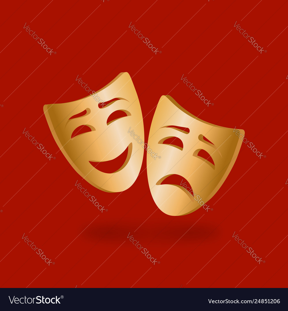 Golden theatrical masks comedy and tragedy on