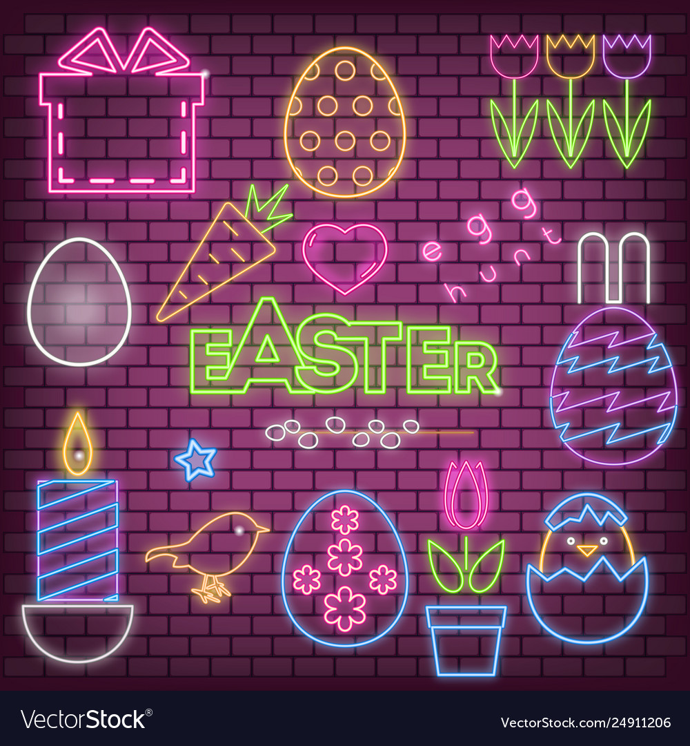 Happy easter neon icons