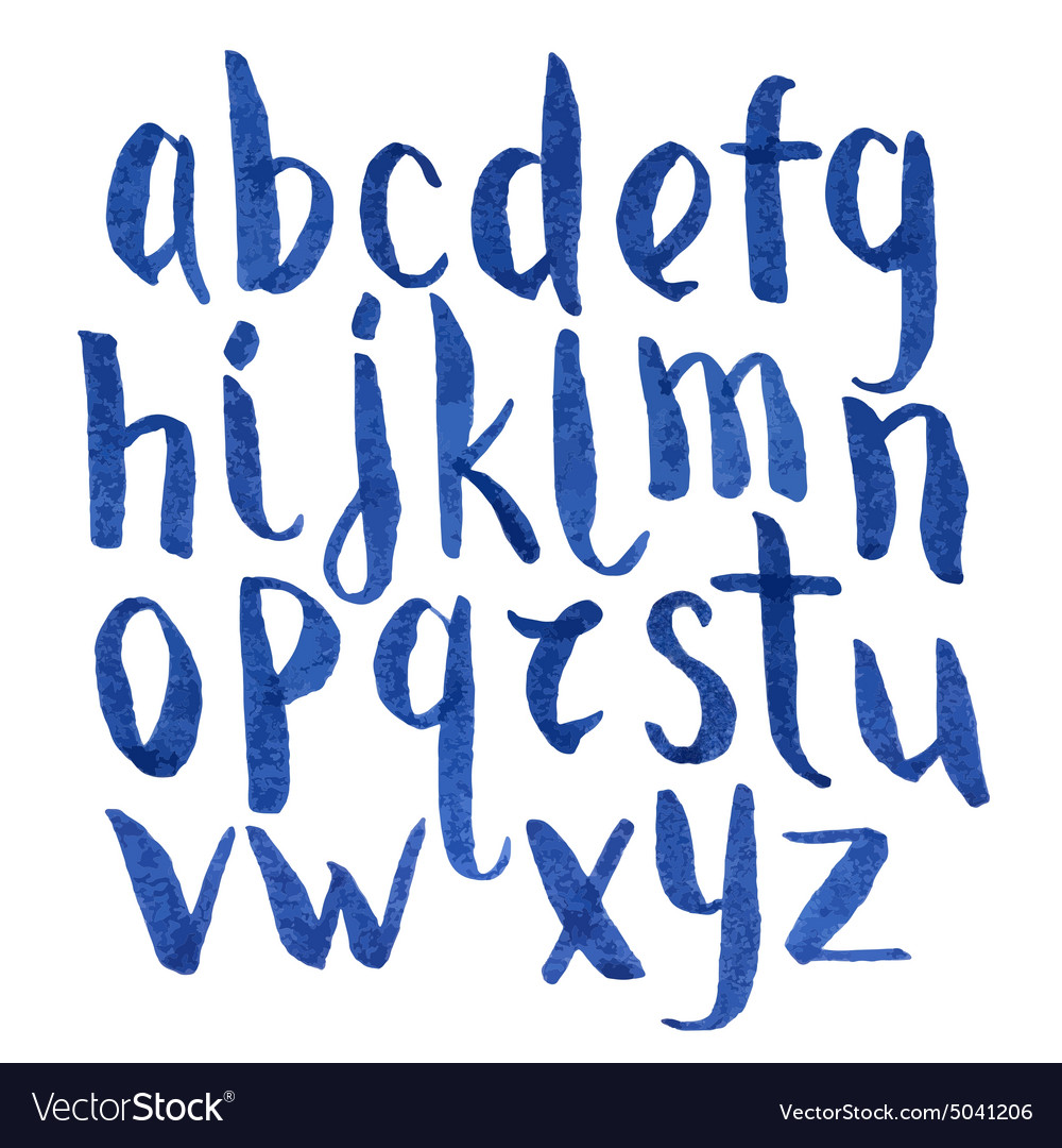 Modern watercolor blue font