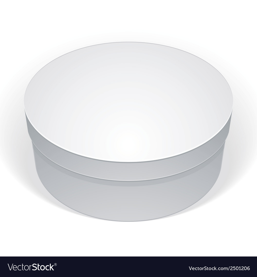 Realistic white round package box for products put