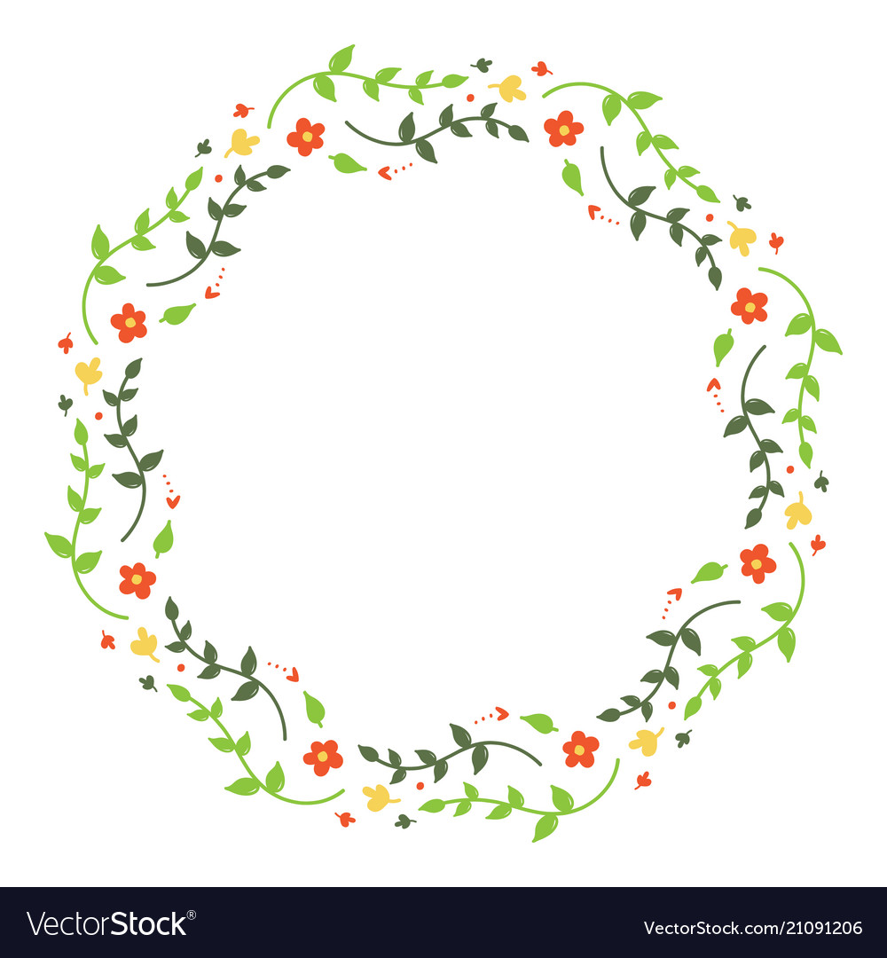 Round floral frame with branches and flowers Vector Image
