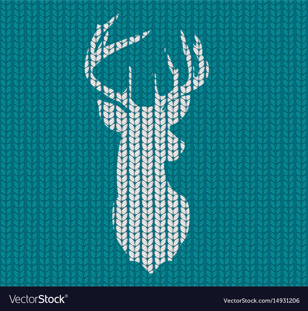 Seamless knitted pattern and head deer