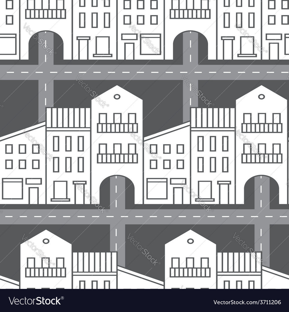 Seamless pattern with houses and streets