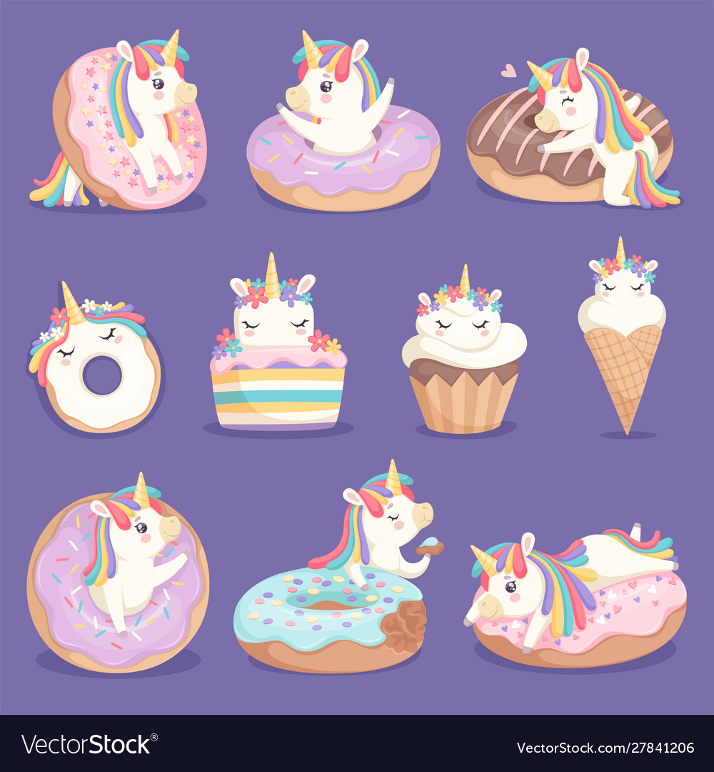Unicorn donuts cute face and characters magic