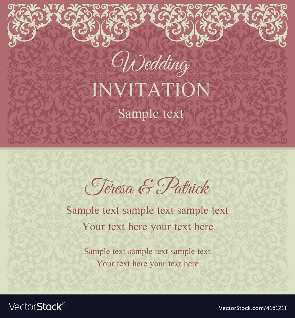 Baroque invitation pink and beige Royalty Free Vector Image