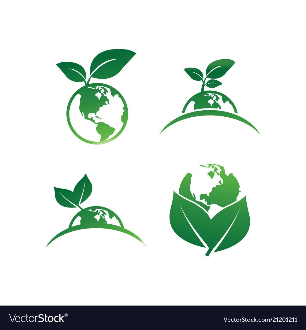 Earth leaf logo design template