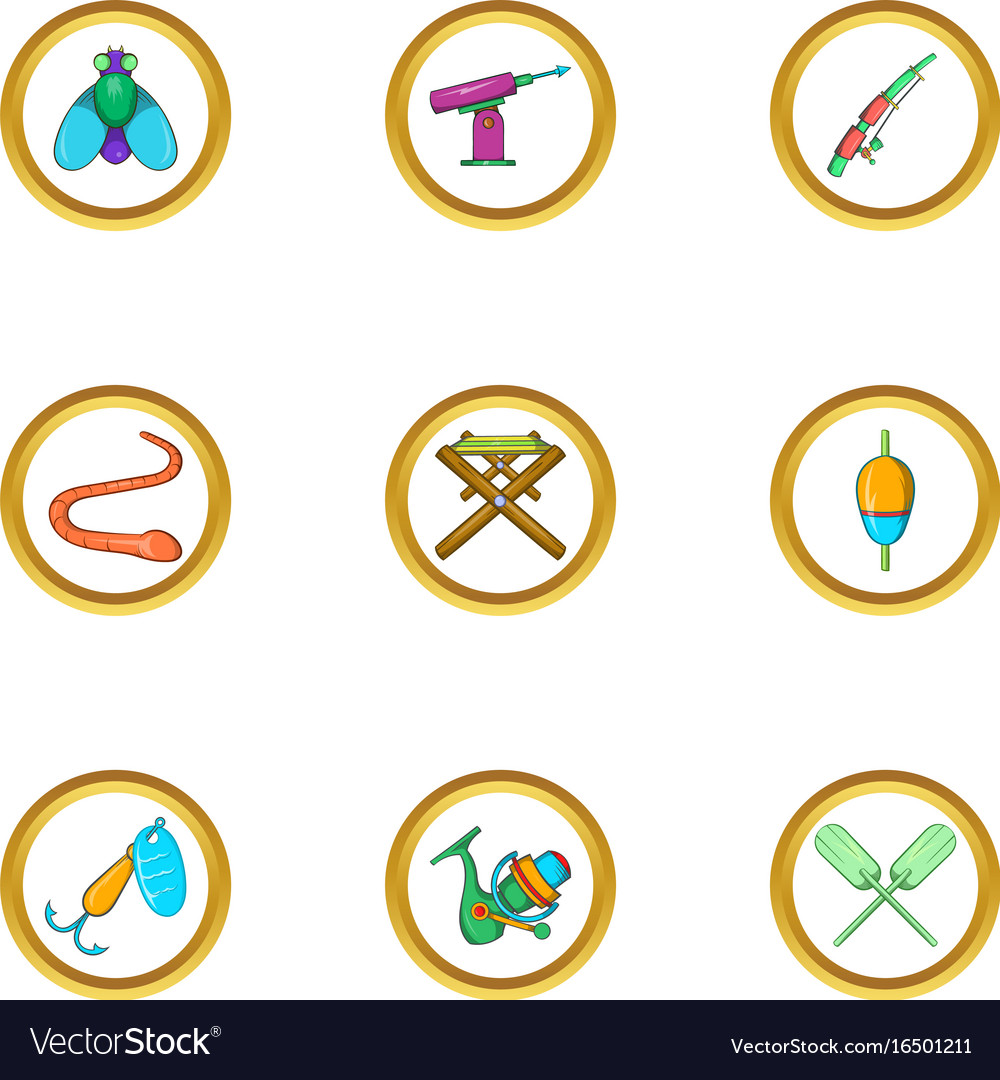 Fishing hobby icon set cartoon style vector image