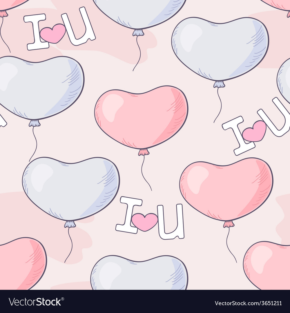 Hand drawn seamless pattern with heart balloons an