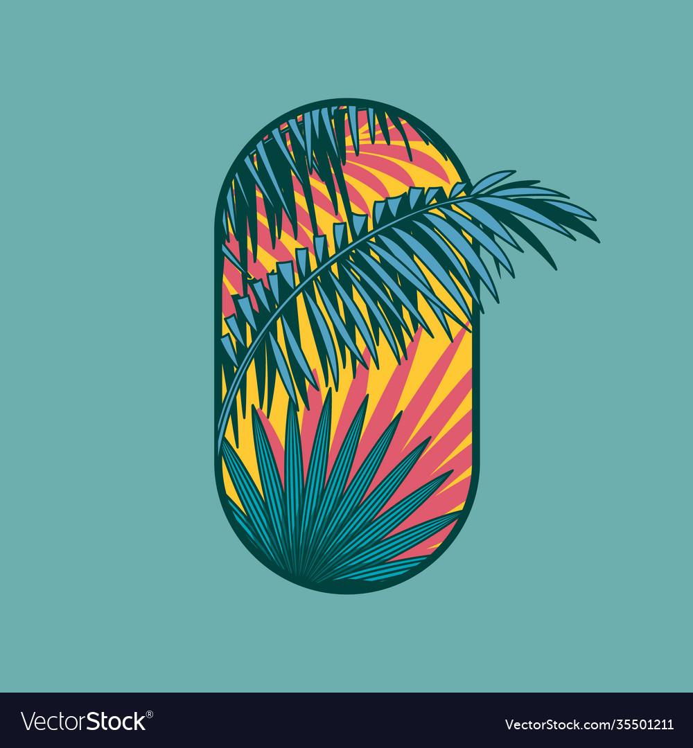 Tropical logo spa hotel emblem palm leaves