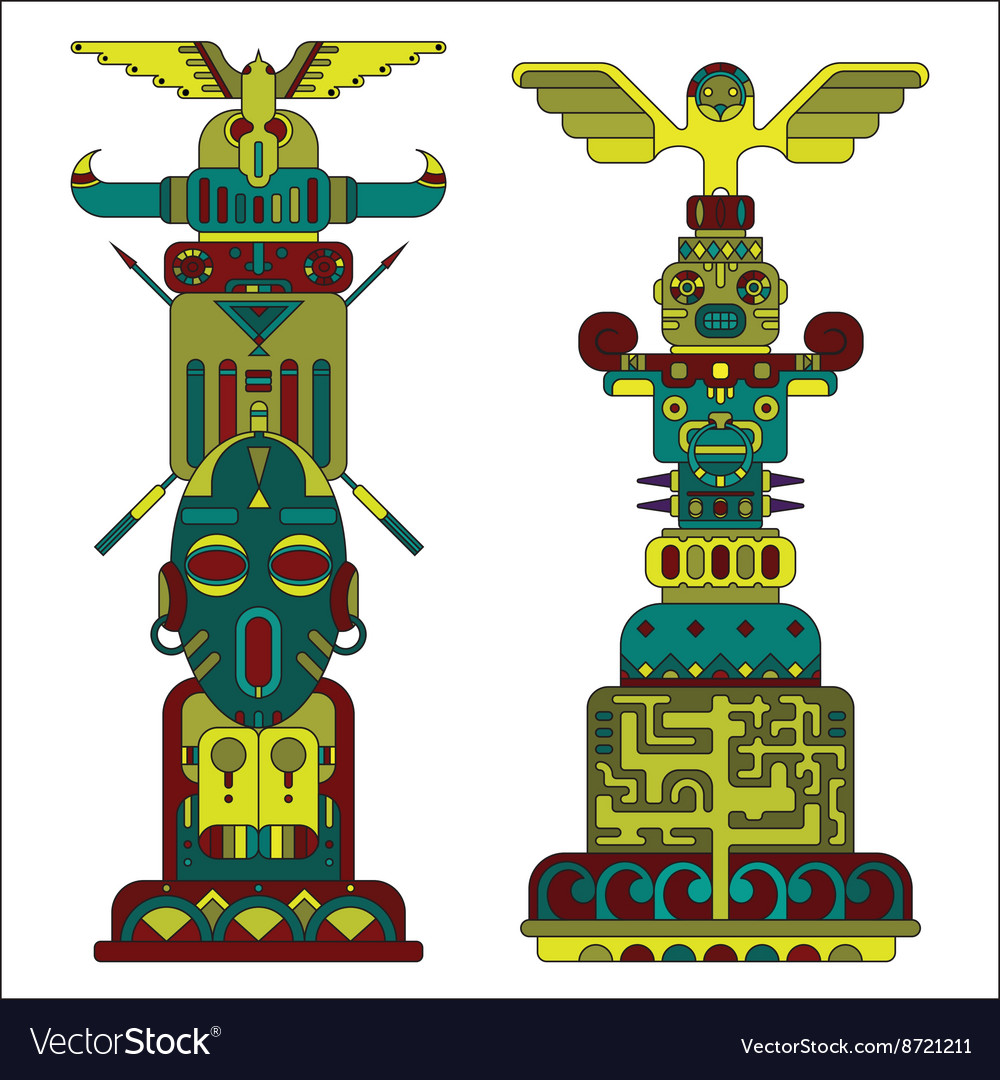 Two colored totem poles