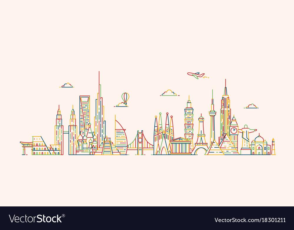 World skyline in outline style