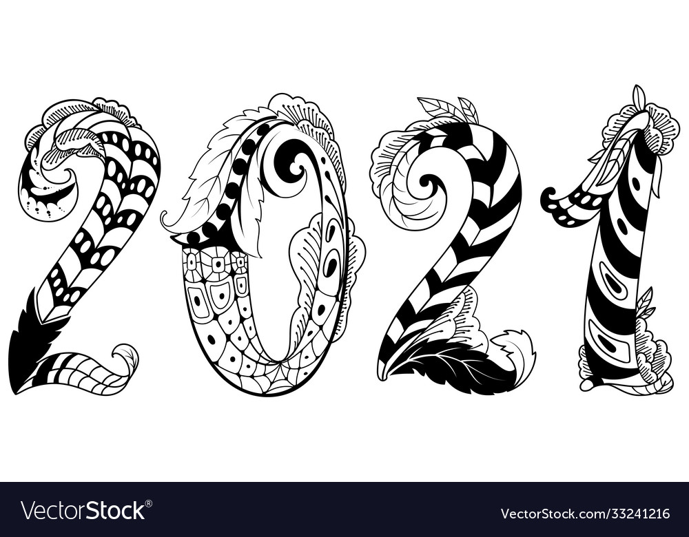 2021 new year abstract number tribal tattoo